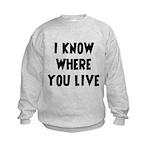 KnowWhereYouLive Kids Sweatshirt