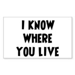 KnowWhereYouLive Rectangle Sticker