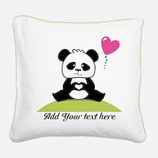 Panda's hands showing love Square Canvas Pillow