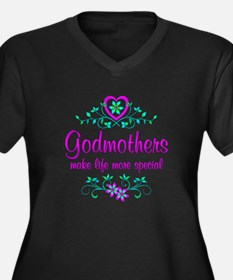 Special Godm Women's Plus Size V-Neck Dark T-Shirt