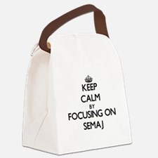 Keep Calm by focusing on on Semaj Canvas Lunch Bag