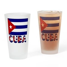 Cuba Flag and Word Drinking Glass