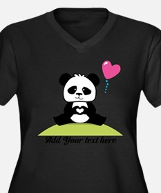 Panda's hand Women's Plus Size V-Neck Dark T-Shirt