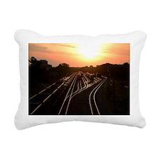 Train at Sunset Rectangular Canvas Pillow