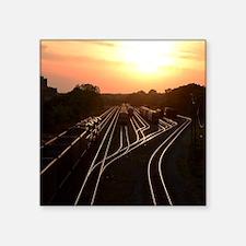"Train at Sunset Square Sticker 3"" x 3"""