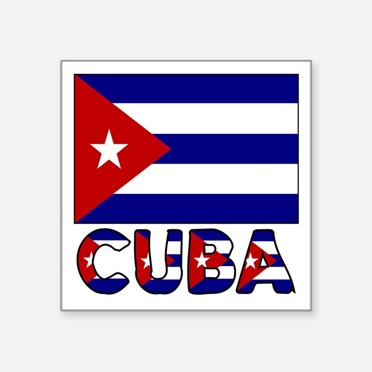 Cuba Flag and Word Sticker