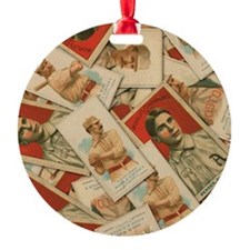 Vintage Baseball Prints 3 Round Ornament