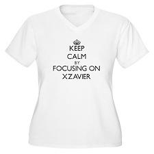Keep Calm by focusing on on Xzav Plus Size T-Shirt
