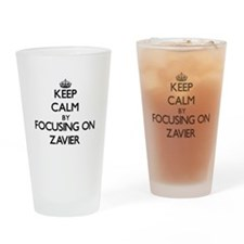Keep Calm by focusing on on Zavier Drinking Glass