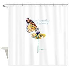 Even butterflies stop rest Shower Curtain