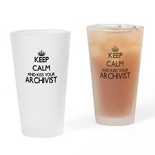 Keep calm and kiss your Archivist Drinking Glass