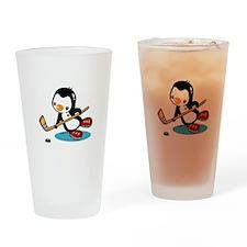 Ice Hockey Penguin Drinking Glass