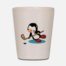 Ice Hockey Penguin Shot Glass