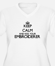 Keep calm and kiss your Embroide Plus Size T-Shirt