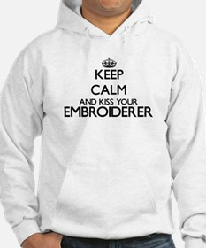 Keep calm and kiss your Embroide Hoodie