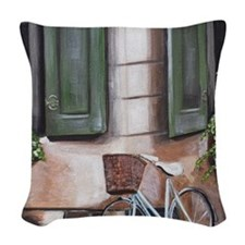 Beautiful Day in the Neighborh Woven Throw Pillow