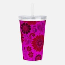 Bright Pink Retro Flow Acrylic Double-wall Tumbler