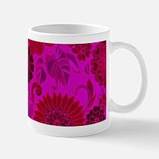 Bright Pink Retro Flowers Mugs