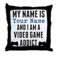 Video Game Addict Throw Pillow