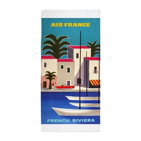 Vintage air france poster french riviera beach to by for Air france assistance chaise roulante
