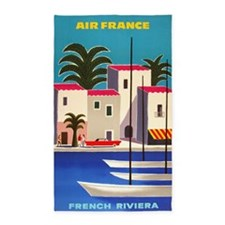 Vintage Air France Poster; French Riviera Area Rug
