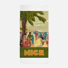 Nice, France, Vintage Travel Poster Beach Towel