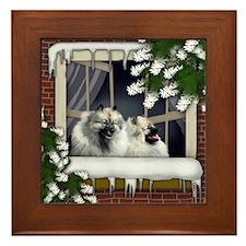 Keeshond Dogs Winter Framed Tile