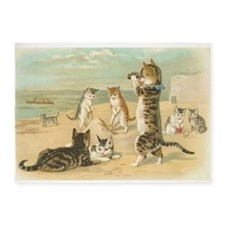 Cats at the Beach, Vintage Art Poster 5'x7'Area Ru