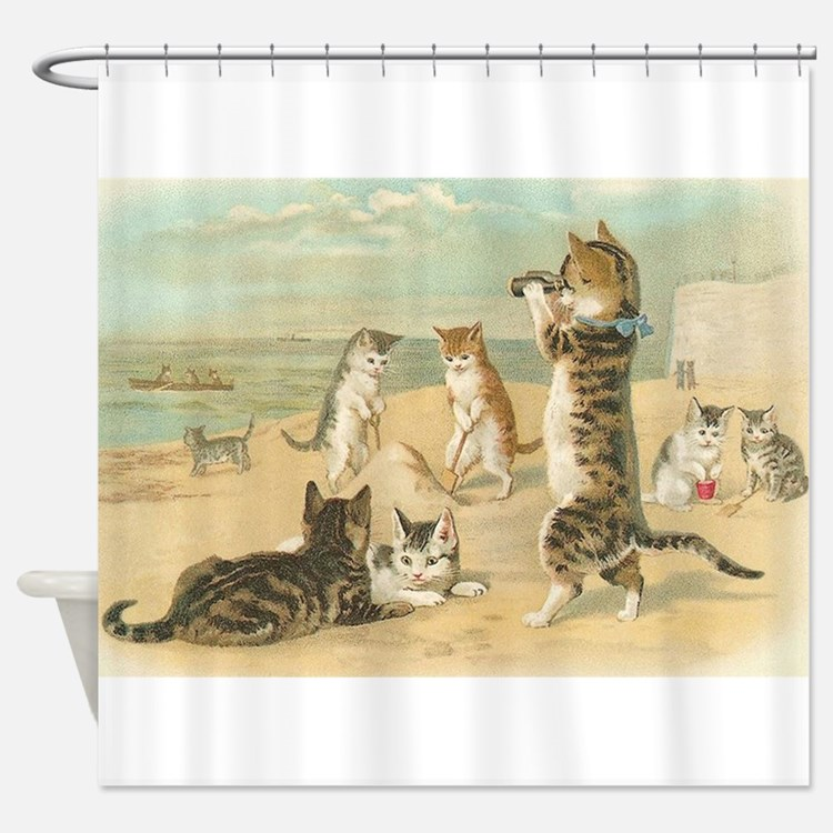 Cats At The Beach Vintage Art Poster Shower Curta