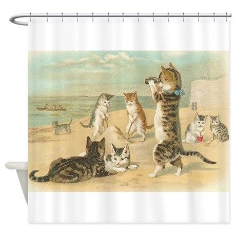 Amazing Cats At The Beach, Vintage Art Poster Shower Curta
