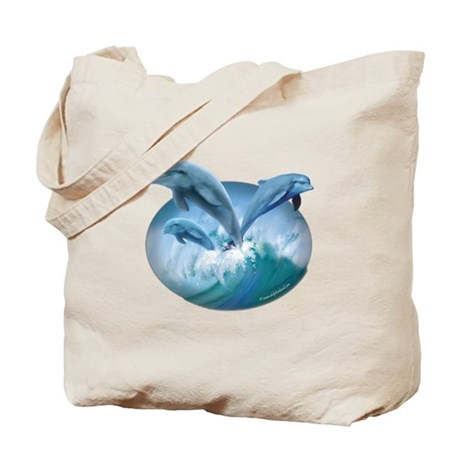 Waves of Dolphins Tote Bag