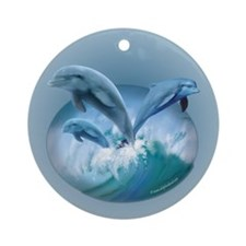 Waves of Dolphins Ornament (Round)