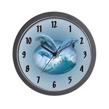 Waves of Dolphins Wall Clock