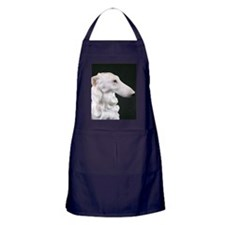 White Borzoi Profile Apron (dark)