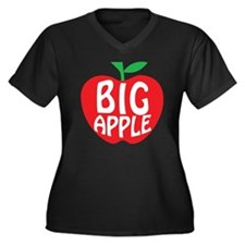 Big Apple New York Women's Plus Size V-Neck Dark T