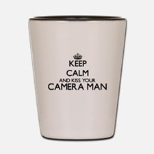 Keep calm and kiss your Camera Man Shot Glass