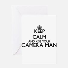 Keep calm and kiss your Camera Man Greeting Cards