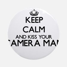 Keep calm and kiss your Camera Ma Ornament (Round)