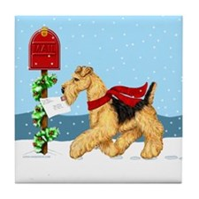 Christmas Airedale Mail Tile Coaster
