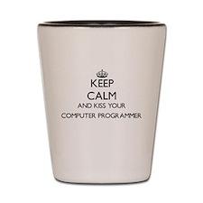 Keep calm and kiss your Computer Progra Shot Glass