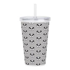 Panda Face Pattern Acrylic Double-Wall Tumbler