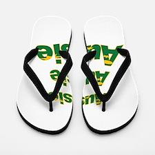 Aussie Green And Gold Flag Flop Flip Flops