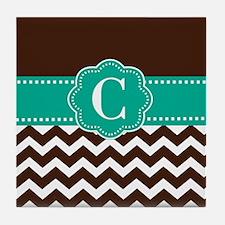 Brown Teal Chevron Monogram Tile Coaster