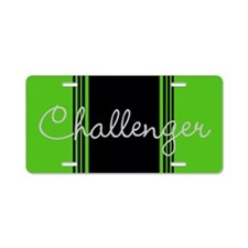 Green Challenger Stripes Aluminum License Plate