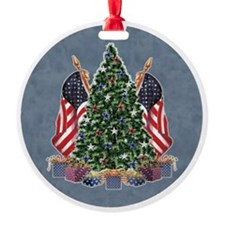 Patriotic Tree with Flags Ornament