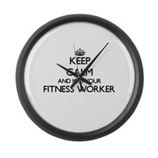 Keep calm and kiss your Fitness W Large Wall Clock