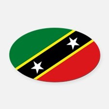 St Kits & Nevis Flag Oval Car Magnet