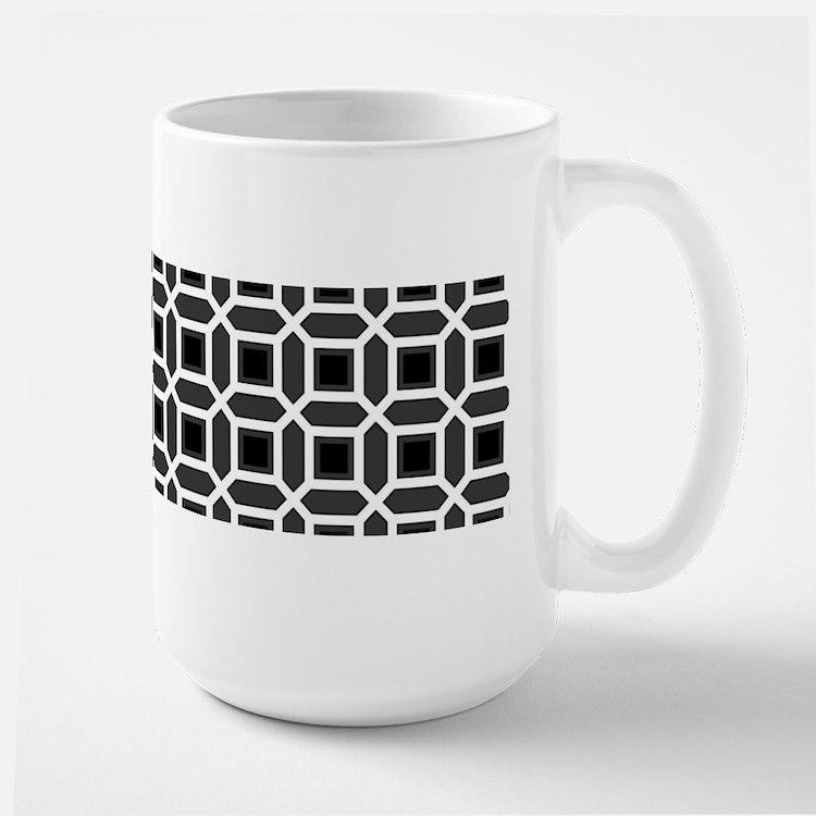 Black and White Mosaic Pattern Large Mug