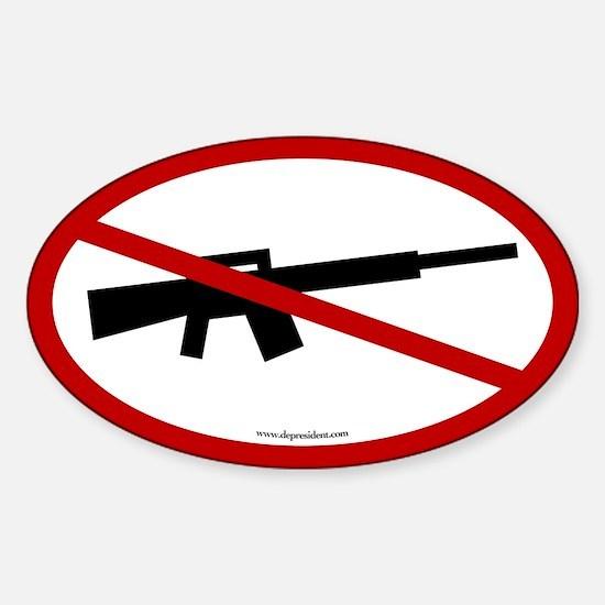 No Assault Weapons. Oval Sticker.