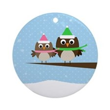 Owl Couple Ornament (Round)